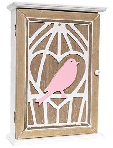 Style shabby chic Clé Armoire de stockage clés support mural 6 crochets à suspendre, Blanc Coque en bois avec porte Marron clair, Rose Bird en blanc Motif cage à oiseaux