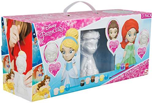 Sambro DSP14-4695 Figuren zum Bemalen, Disney Princess mit Arielle, Belle und Cinderella, inklusive Zubehör, bunt