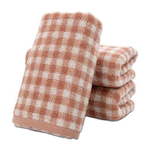 XINDUO Toallas de Mano Suaves extragrandes,Toalla de algodón a Cuadros Suave para el hogar 2pcs-Red_34 * 74,Toallas de Mano extragrandes de algodón Suave