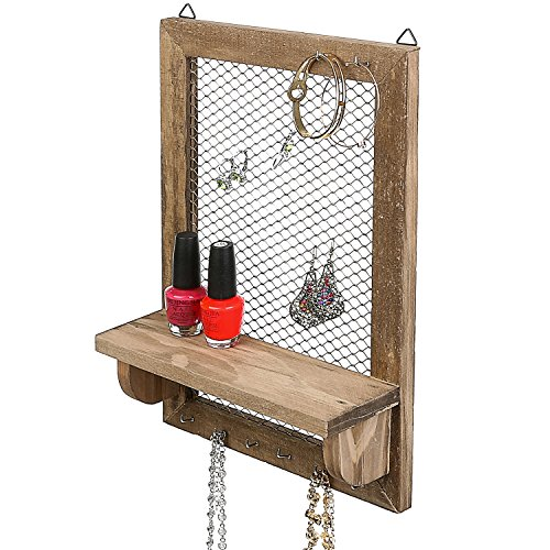 MyGift 8 Hook Wood and Metal Chicken Wire Wall Mounted Jewelry Display Organizer Rack with Shelf
