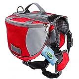 Lifeunion Saddle Bag Backpack for Dog, Tripper Hound Bag Travel Hiking Camping (Orange + Grey, L)