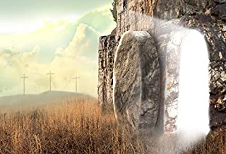 Yeele Backdrops 5x3ft Cave Holy Light Cross Christ Resurrection Mountain Trod Easter Christian Religious Starry Sky Pictures Adult Artistic Portrait Photoshoot Props Photography Background