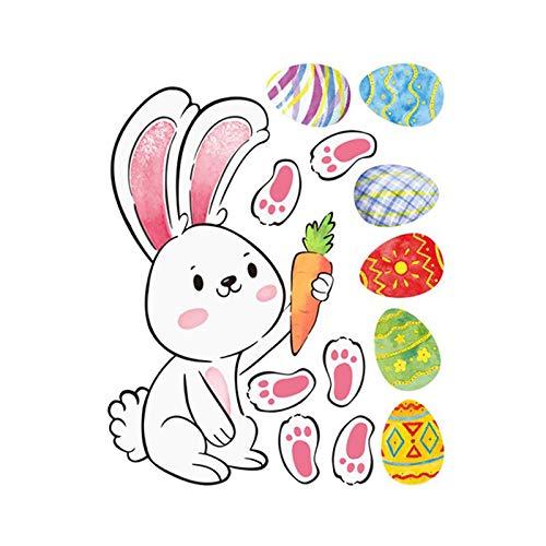 Sicond jardín de infantes decoración de la pared, conejo huevo pegatina de vinilo para coche, pegatina de arte DIY decoración mural para dormitorio de niño y niña 30x24cm