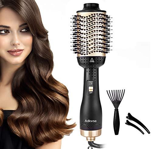 Adkwse 5 in 1 Haartrockner Multifunktions Hair Dryer & Volumizer Heißluftbürste Negativer Lonic Föhnbürste Glatthaarbürste Lockenwickler Stylingbürsten für Alle Styling(Schwarzes Gold)