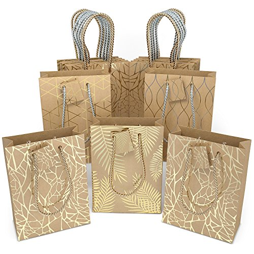 Brown Paper Gift Bags with Handles, Brown Gift Bags Bulk (Set of 16), Fashion Gift Bags made of Kraft Paper Gold Gift Bags Birthday, Weddings Guests, Valentines Day, Hanukkah, Baby Shower