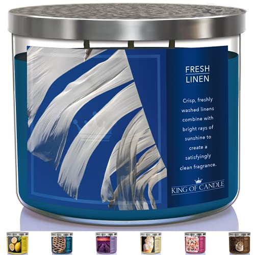 Fresh Linen Candles for Home Scented | Soy Candles | 3 Wick Candle 14 Ounce w/ Metal lid (Fresh Linen Clean Linen)