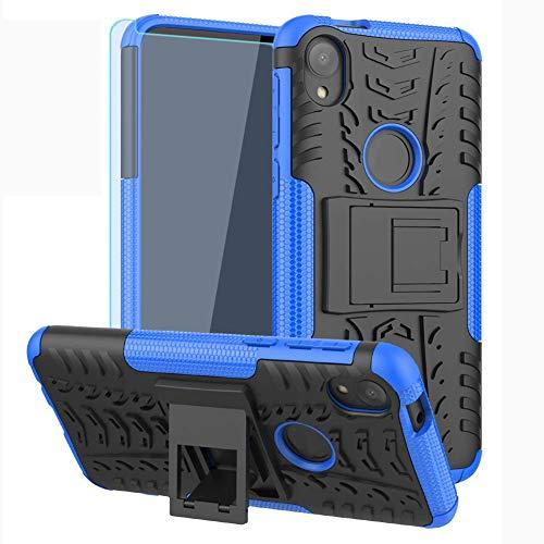 SKTGSLAMY Moto E6 Case, with HD Screen Protector, [Shockproof] Tough Rugged Dual Layer Protective Case Hybrid Kickstand Cover for Moto E6 (Blue)