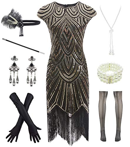 Women 1920s Vintage Flapper Fringe Beaded Gatsby Party Dress with 20s Accessories Set, Black Gold, Medium