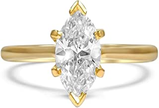 Sterling Silver Marquise Cut Cubic Zirconia CZ Solitaire Engagement Ring Platinum Plating Size 4-9