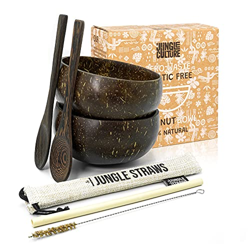 Jungle Culture Coconut Bowls & Spoons   Natural Wooden Bowl Set Polished with Organic Coconut Oil, Bamboo Straw & Pouch   Serving Bowl for Acai Smoothie Noodle Ramen Salad   Vegan & Eco Friendly Gift