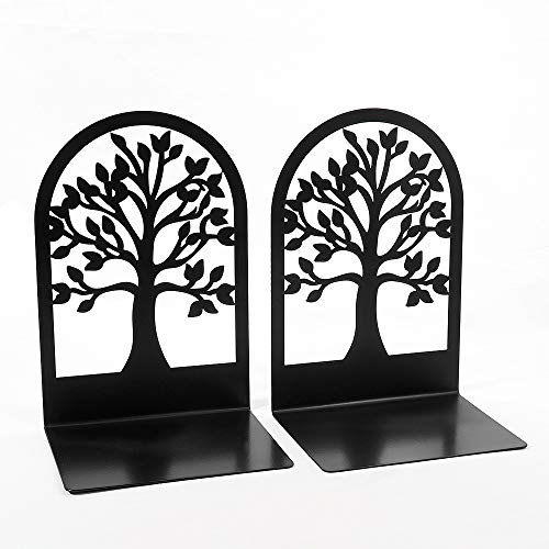 Creative Book Ends, Bookends, Book Ends for Shelves, Non Skid Metal Heavy Duty Bookend for Heavy Books, Book Divider Decorative Holder, Abstract Art Design Book Stopper Supports (Tree of Life)
