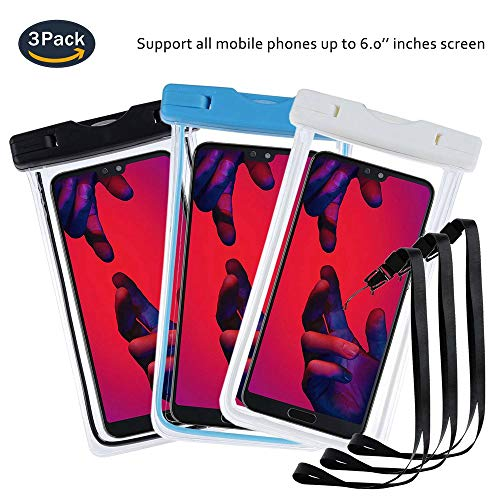 pinlu® 3 Pack IPX8 Wasserdichte Tasche, für Smartphones bis 6 Zoll, für Wiko Rainbow Jam 3G, Wiko Fever 4G, Wiko Fever Special Edition, sandproof Protective Shell -Schwarz+Weiß+Blau