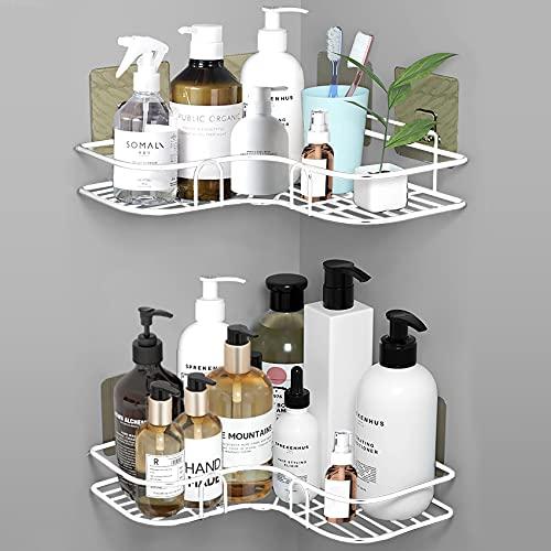 ASHINER Mensola per doccia angolare, portaoggetti per bagno con un peso di 5 kg senza forare, porta sapone doccia a 2 pezzi facile da installare - Bianca