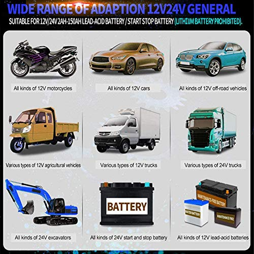 JXWL Car Battery Charger, 12V 24V Battery Charger & Maintainer, with LCD Screen, 3-Stage Automatic Trickle Battery…