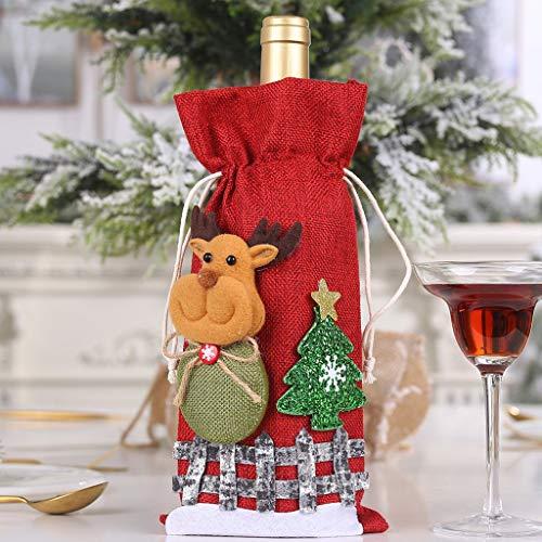 JiaMeng-ZI Decoración del Hogar Tela Tapa de Bolsa de Botella de Vino Regalo de decoración de Mesa de Fiesta de Fiesta de Navidad Arreglo de Escena Decoración(30 x14cm)
