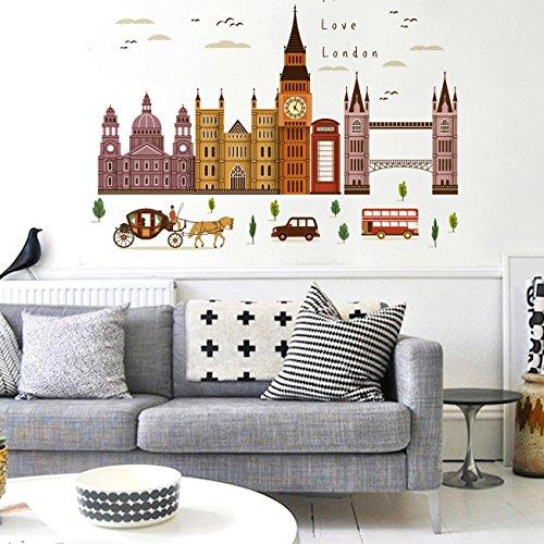 Sticker mural ZOZOSO Stickers Muraux London Big Ben Building Stickers Muraux Décoration Murale