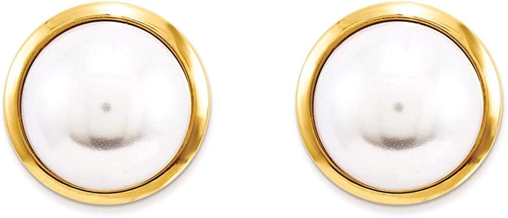 14k Yellow Gold Simulated Pearl Post Stud Earrings Ball Button Fine Jewelry For Women Gifts For Her