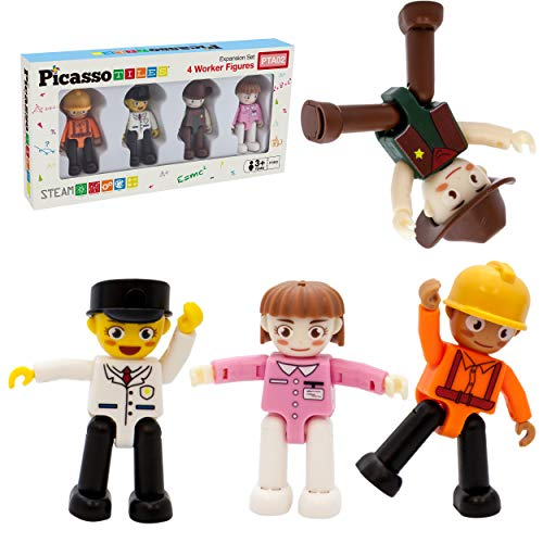 PicassoTiles Magnetic 4pc Profession Character Action Figures Toddler Toy Set Magnet Expansion Pack Educational Add-on STEM Learning Kit Pretend Playset for Construction Building Block Tiles PTA02