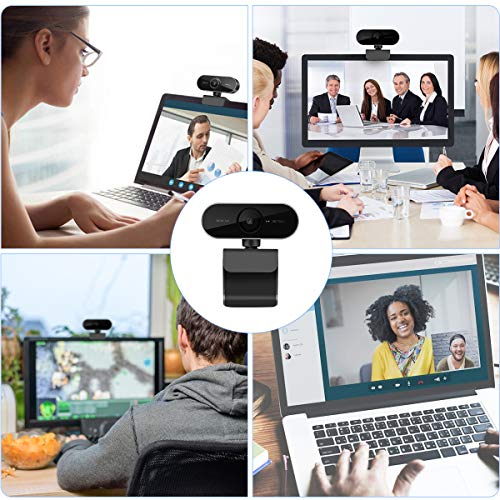 1080P Webcam con Microfono, HD cámara web para computadora de escritorio/portátil/computadora/PC - Webcam USB para Videoconferencia Grabación de Conferencias, Transmisión en Vivo, seminario web, etc. miniatura