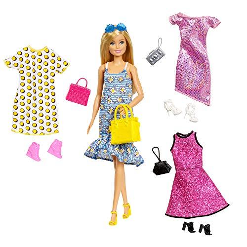 Doll Barbie Puppe Blumenkleid Gelbe Tasche mit Kleidung und Accessoires Abendkleid 30cm Original Mattel GDJ40
