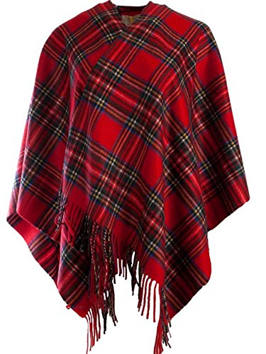 I Luv Ltd Cashmere Mini Cape In Stewart Royal Tartan 122cm Wide