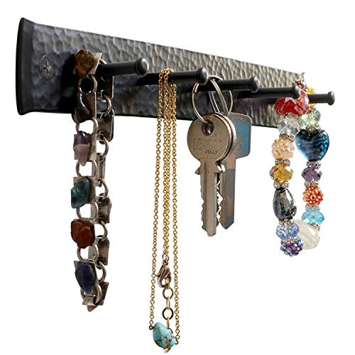 Wrought Iron Key Holder for The Wall – Handmade Hat Towel Leash Jewelry and Keys Rack Wall Hangers with Anchors and Screws – Rustic Sturdy Easy-to-Install Farmhouse Wall Decor 10x12x12 in