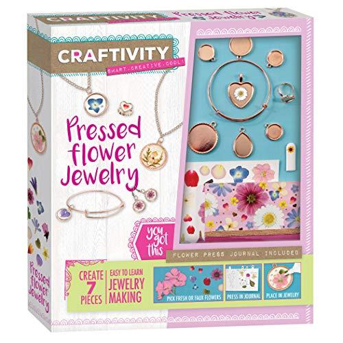 Craftivity Pressed Flower Jewelry Making Kit - Create 7 Pressed Flower Jewelry Accessories