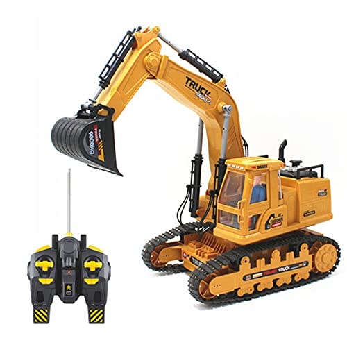 HUIGE Kinder RC Bagger Spielzeug, 15 Kanal Voll Funktionsfähige Simulation Baufahrzeuge 2,4 Ghz RC Bagger, Realistischer Mechanischer Arbeitssound, Für Kinder Erwachsene Geschenke