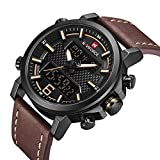 Mens Digital Analog Watches Waterproof Sport Leather Band Watch with Alarm Dual Display Date Wristwatch
