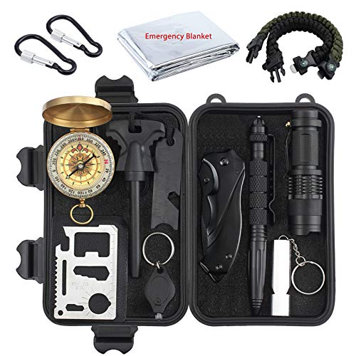 Proster Survival Kit 15 in 1 Notfall Survival Gear Multifunktionales Zubehör Survival Werkzeug für Camping Outdoor Sport Reisen Wandern