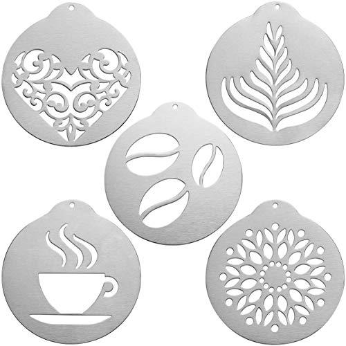 UPKOCH 5 Stück Kaffeeschablonen Kuchen Schablonen Edelstahl Multifunktionale Cappuccino Kunst Vorlagen Cappuccino Schablonen Schablone Form für Bar Küche Restaurant