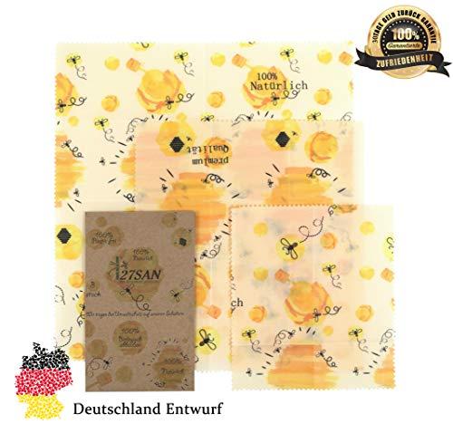 27SAN Premium Qualität Bienenwachstücher Wiederverwendbare Frischhaltefolie 3er Set Bees Wraps Nachhaltiges Bienenwachstuch Beeswax Wrap Wachspapier Bio Bienenwachstücher für Lebensmittel