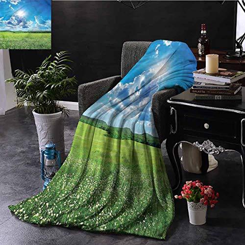 GAJIOE DIY Printing Blanket Landscape Dorm Bed Nursery Crate Traveling Spring Meadow Mountain W51 xL60
