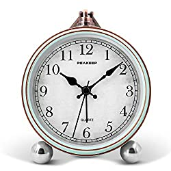 Peakeep 4 Battery Operated Antique Retro Analog Alarm Clock, Small Silent Bedside Desk Table Gift Clock