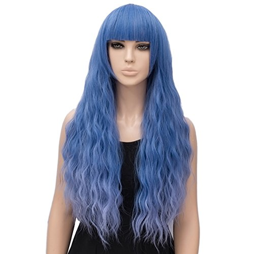 netgo Women's Blue Mixed Purple Wig Long Fluffy Curly Wavy Hair Wigs for Girl Synthetic Wigs