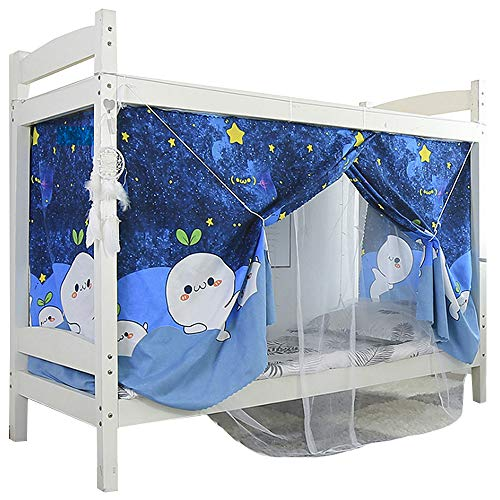 Kennedy Bunk Bed Curtain Canopy Mosquito Net for Bottom Top Students Dormitory Single Bed Blackout Drapery, 2 in 1 Style, Color 4