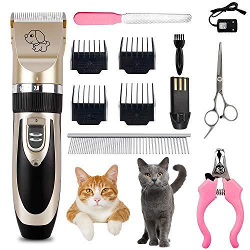 BEIAOSU Clippers Kit de aseo para mascotas, de bajo ruido Clippers Hair Trimmer Kit para perro gato profesional inalámbrico recargable con accesorios