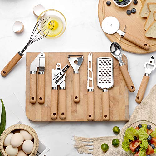Kitchen Cooking Utensils Set, 9 Pcs Essential Stainless Steel Gadget Tool with Anti-Slip Heat Resistan Wooden Handle, Spoon, Whisk, Peeler, Cutter, Grater, Can Opener, Garlic Press, Corkscrew, Knife