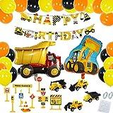 HIQE-FL Festa di Compleanno di Costruzione Bomboniere,Trattore Scavatrice Bulldozer Decorazione,Palloncini per Veicoli per Ragazzi,Compleanno Costruzioni