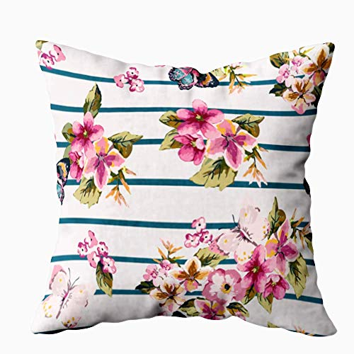 N\A Funda de Almohada Suave, cojín para el hogar Sofá casero Suave Funda de Almohada Suave Decorativa Patrón Floral de Mariposa Fondo de Rayas Fundas de Almohada para Exteriores con Doble impresión