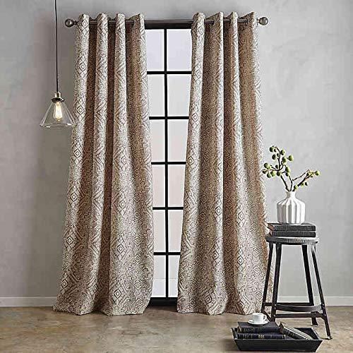 Bedeck Juma Print 84-Inch Grommet Window Curtain Panel in Linen