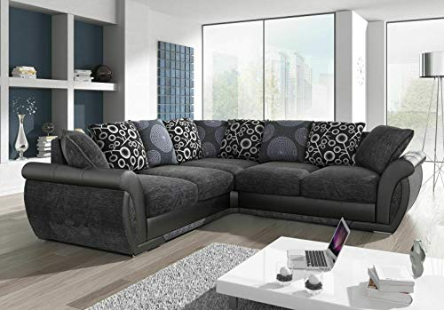 Amazing Sofas CORNER SHANNON FARROW LARGE SOFA CHENILLE FABRIC GREY BLACK/BROWN BEIGE. Fire resistant as per British Standards, foam filled seats for comfort. (Grey/Black)