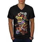 Wellcoda des Bandes dessinées Élégant Mode Homme T-Shirt à col en V Typographie T-Shirt Graphique