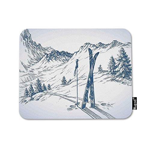 Mugod Mouse Pad Winter Sketchy of a Downhill with Ski Elements in Snow Relax Calm View Blue White Decor Gaming Mouse Pad Rectangle Non-Slip Rubber Mousepad for Computer Laptop 7.9x9.5 Inches