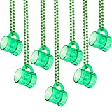 6 Pieces St. Patrick's Day Beer Mug Beads Necklaces Traveling Shot Glasses Beads Necklace with Green Shot Glasses for Green Shamrock St. Patrick's Day Mardi Gras Party Favors Supplies