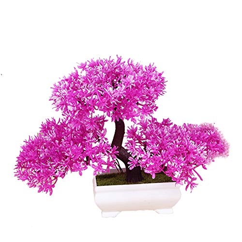 CGBF Kunstmatige plant Kunstmatige bomen Kunstmatige groen, potdennenvorm Bonsai niet vervaagt voor vensterbank bureau Home Office Decoratie, Roze