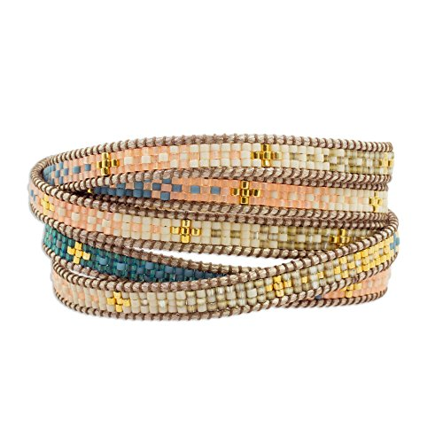 """NOVICA Coral and Blue Glass Beaded Wrap Bracelet with Loop Closure, 35"""""""