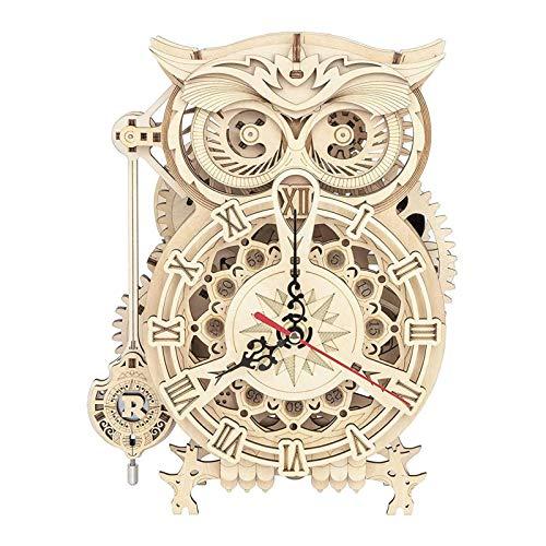 161 Piezas Creativo DIY 3D Búho Reloj De Madera Juego De Rompecabezas Montaje Juguete Regalo para Niños Adolescentes Adultos