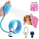 Ocathnon Pet Bathing Tool, Pet Shower Sprayer with Brush Massager, Shower Bath Tub and Outdoor Garden Hose Compatible, Dog Cat Horse Grooming, 1x PVA Towel Included