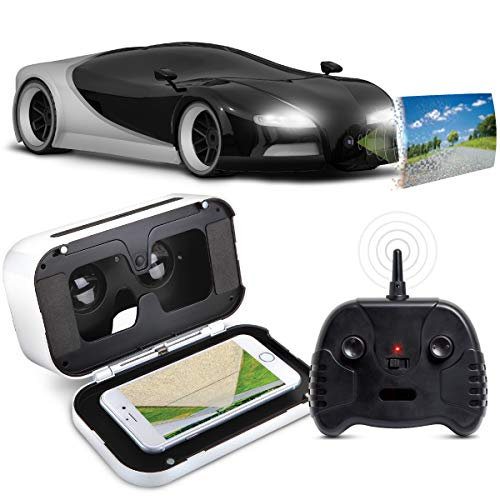 Sharper Image Remote Control Italia Sports Car with Virtual Reality Headset, Silver & Black